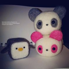 jojo's crafty love: Needle felted Hamanaka Pandas kit and Penguin cube!