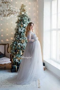 48480f7c5d9 Maternity Dress for Photo Shoot - Tulle Maternity Dress - Grey Maternity  Gown - Pregnancy Dress - Maternity Long Lace Dress - Maternity Prop