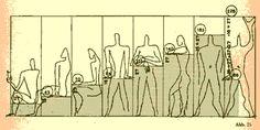 마찬가지로 르 꼬르뷔지에의 도미노 시스템. 이 그림을 보면 더더욱 그가 얼마나 체계적이었는가를 알 수 있다. 인간이 주로 하는 행동이 어느 정도의 공간을 필요로 하는지 고심한 흔적이 보인다.