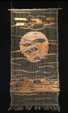 Tadek Beutlich:  Moon.  Fiber, charred wood, seed pods and x-ray film