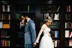 Love the idea of having the first look in a library | Cami Jane Photography