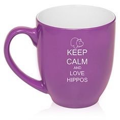 16 oz Purple Large Bistro Mug Ceramic Coffee Tea Glass Cup Keep Calm and Love Hippos