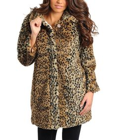 Take a look at this Brown Leopard Faux Fur Coat on zulily today!
