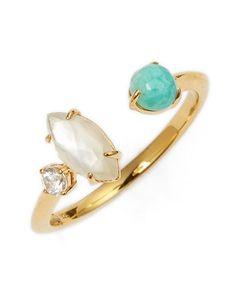 nadri semiprecious stone open ring