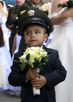 Bogota policemen get hitched in mass wedding - PhotoBlog Police Family, Vows, Babys, Captain Hat, Latina, Wedding Ideas, Children, Colombia, Babies