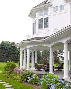 veranda. No rails. Makes my heart flutter. Love the hydrangeas.