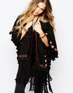BL^NK Tassel Detail Cover Up With Faux Fur Lining