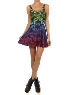"Women's ""Ombre Trippin Meowt"" Skater Dress by Poprageous (Black)"