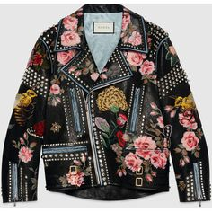 Gucci Hand-Painted Leather Biker Jacket (€8.115) ❤ liked on Polyvore featuring outerwear, jackets, coats, coats & jackets, leather jacket, leather & fur, ready to wear, women, leather moto jacket and floral leather jackets