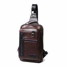 Men Business Genuine Leather Crossbody Bag Cowhide Retro Chest Bag