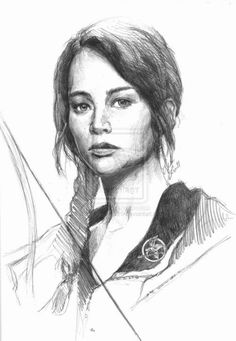 My Drawing of Katniss Everdeen in the red Mockingjay