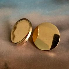 3e7df6bd4 Vintage Crown Trifari Gold Plated Round Clip On Disc Earrings Simple Sleek  Minimalist Clips Mid Century Designer Signed Jewelry