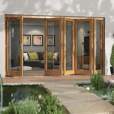 Folding Patio Doors The Doors, Windows And Doors, Folding Patio Doors, Outside Patio, Door Sets, Garden Doors, Small Space Gardening, Golden Oak, Sliding Glass Door