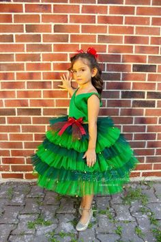 Christmas Party Dress, Green Christmas Gowns for Girl New Years Outfit, New Years Dress, Gowns For Girls, Girls Dresses, Flower Girl Dresses, Green Tutu, Green Dress, Girls Party Dress, Birthday Dresses