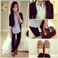 oxford, pink cardigan, navy pants, leopard flats?