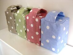 Door Stops Oil Cloth Polka Dot Pink Blue Green. This would be a cool project, just cover a brick in oilcloth and use it as a doorstop!