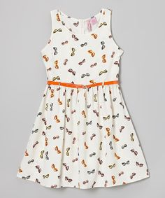 Apollo Ivory & Orange Sunglasses Dress - Girls by Apollo #zulily #zulilyfinds