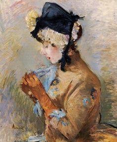 ilovetocollectart: Berthe Morisot - Woman Wearing Gloves (aka The Parisian), oil on canvas Pierre Auguste Renoir, Edouard Manet, Camille Pissarro, Edgar Degas, Claude Monet, French Impressionist Painters, Berthe Morisot, Paul Cézanne, Mary Cassatt