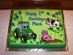 Cake for Nolan's birthday, with blue tractor Tractor Birthday Cakes, Adult Birthday Cakes, Happy 2nd Birthday, Tractor Cakes, Birthday Ideas, Birthday Parties, Farm Animal Birthday, Cakes For Boys, Eat Cake