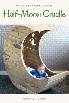 This tutorial byJochem Dijkstrain collaboration with describes with plans and step-by-step instructions, how to make the world famous half-moon cradle out of three repurposed wooden pallets. This half-moon cradle is inspired by