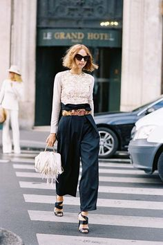 Candela Novembre, before Stella McCartney, Paris, October 2015.     Paperbag waist trousers.      Recreate Candela's look (kind...