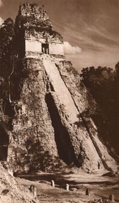 """Tikal was once the """"capital"""" of the Maya people, and the largest archaeological site of pre-colombian Mayan ruins. The site contains six large Temple Pyramids. This is the Temple of the Grand Jaguar. Located in the region of Pelon Basil near Flores in the northern region of  GUATEMALA"""