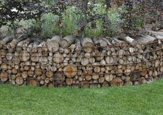 Gabion with firewood.