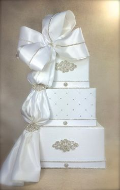 Wedding Card Box White Ribbon with Sash Wedding by WrapsodyandInk
