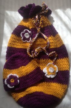 Purple and Gold Baby Cocoon Beanie Set 0-6 Month Hat by yARRnyLoot