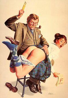 Bernie Lettick art for National Lampoon September 1975 Magazine Cover #spanking
