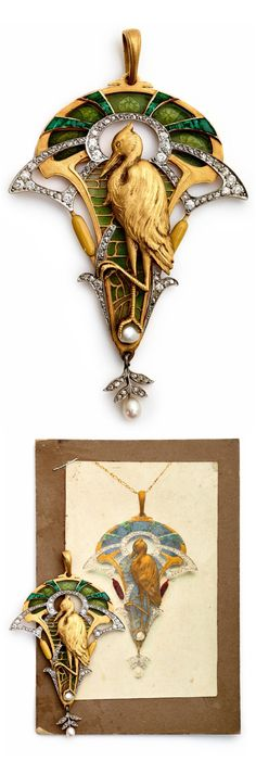 "An Art Nouveau 18kt yellow gold, enamel, diamond and emerald pendant, circa 1900. Featuring a stylised large, long-legged Stork. The stork is enhanced by natural pearls, untreated green emeralds, enamel, and rose-cut and mine-cut diamonds. 3½"" in length. #ArtNouveau"