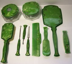 12 Pc Lot Antique Art Deco Green Celluloid Dresser Vanity Set Mirror Hair Powder | eBay