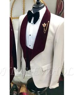 Wedding suits - Alberto Nardoni White and Burgundy ~ Wine ~ Maroon Color Velvet Lapel Vested Tuxedo Suit Shawl collar White Tuxedo Wedding, Wedding Tux, Wedding Dress Men, Men Wedding Suits, Groom Tuxedo, Tuxedo Suit, Tuxedo For Men, Maroon Suit, Burgundy Suit