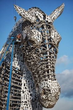 Construction of the Kelpies Sculptures in Scotland by sculptor Andy scott