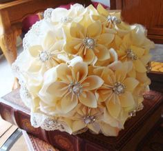 Wedding+Bouquet+Rhinestones+and+Lace+Ivory+by+SweetPeasPaperFlower,+$100.00