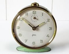 Lovely Vintage French Green Metal ALARM CLOCK JAPY