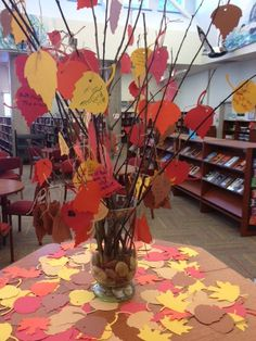 for books. good idea- a thankful tree, everyone writes one thing about the library they are thankful for at the libraryThankful for books. good idea- a thankful tree, everyone writes one thing about the library they are thankful for at the library Middle School Libraries, Elementary School Library, Elementary Education, Library Lessons, Library Books, Library Ideas, Teen Library, Fall Library Displays, Fall Displays