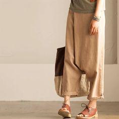 Cotton linen long trousers women clothes