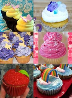 My Little Pony Cupcake designs for the main six ponies, Fluttershy, Rarity, Twilight Sprkle, Pinkie Pie, Apple Jack, and Rainbow Dash.