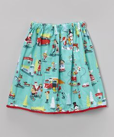Red & Aqua Retro Christmas Skirt by Waistin' Away