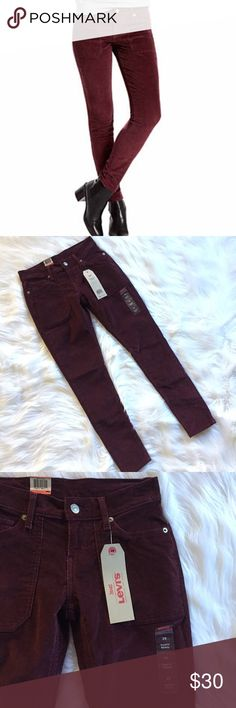 """NWT Levi's Maroon Surplus Skinny Corduroy Pants •NWT Levi's Surplus Skinny Maroon Skinny Pant •Levi Strauss & Co. •Women's size 25 (0) •Retails for $50 •Mid Rise, Slim through hip and thigh •84% cotton, 14% polyester, 2% elastane  •All measurements are approximate: 28"""" inseam, 13.5"""" across waist, 8"""" front rise Levi's Pants Skinny"""