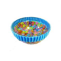 Serving bowl  decorated  bowl polymer clay  glass  by MIRAKRIS