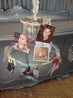Repurposed Lampshade Photo Display by A to Z Custom Creations