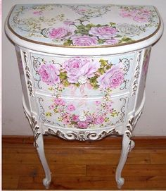 Antique French Demi End Table W/ROSES THAT WOULD MAKE A STATEMENT IN A FRENCH,ROMANTIC FRENCH,SHABBY CHIC,ROMANTIC COUNTRY OR ROMANTIC COTTAGE DECOR.CHERIE