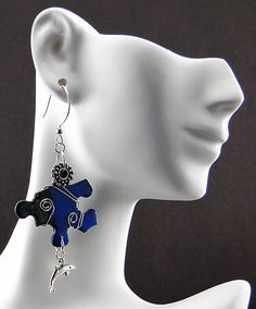Upcycled Jigsaw Puzzle Earrings Sterling Silver
