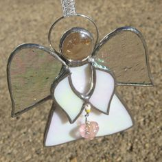 White Stained Glass Angel with Pink Heart by FiveSparrows on Etsy, $12.00