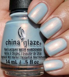 china glaze Pearl Jammin' is a pale blue with a strong pearly opalescent shimmer.