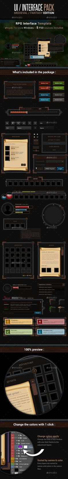 Game UI Interface Pack - Medieval Fantasy Edition by eldamien Description : This pack contains multiple ready-to-use windows for your interface / UI. You can also make your own windows by usi Game Interface, Interface Design, Game Card Design, Card Ui, Web Design, Pixel Art Games, Game Background, Game Icon, Game Concept