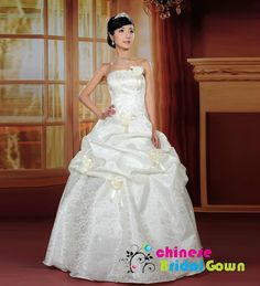 Style 508, Modern Satin Ball Gown Strapless Chinese Wedding Dress by CBG.