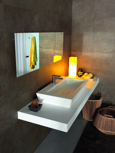 Washbasin Paper and yellow light. Soft atmosfere #bathroom #collections